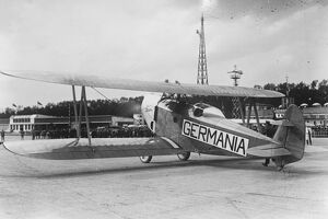 Germany to New York flight. The ' Germania ' to be piloted by Konnecke. 1927