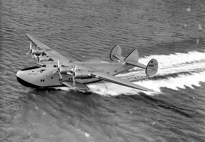 The giant new American flying boat ' Yankee Clipper ' as she landed at