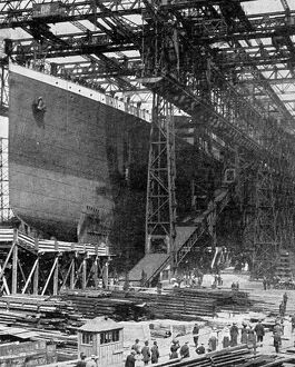 One of the giant twin ships which have cost three million pounds: The 'Titanic'