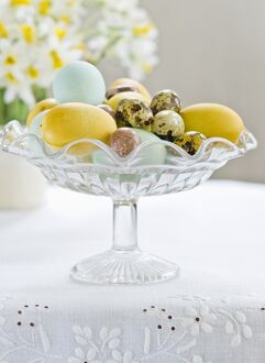 Glass stand with hand painted eggs including quais eggs credit: Marie-Louise Avery