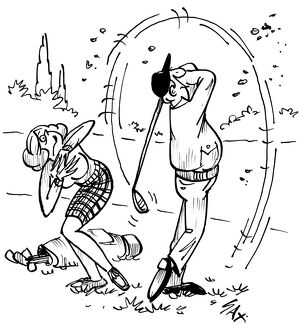 Golf / golfing Cartoon by Sax Usually paying little or no attention to political