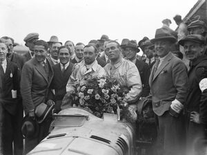 Grand Prix thrills at Brooklands. The two drivers of the winning car. Senechal