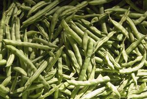 Green french beans for sale in covered market in Limassol southern Cyprus credit