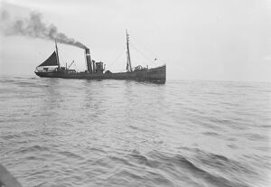 A Grimsby herring trawler in the North Sea Fish where the fish are