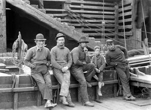 A group of fishermen from Saltburn by the Sea , a small seaside town on the English
