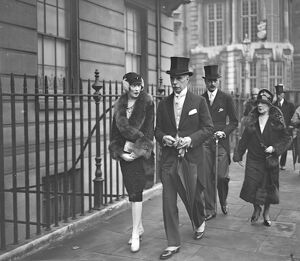Guests arriving for the Roper Curzon, Whitaker wedding. Mrs Frederick Pelham Clinton