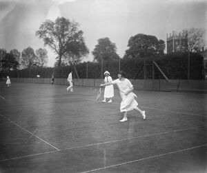 Hard court lawn tennis tournament at Hurlingham. Lady Beaverbrook playing in the