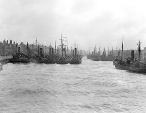 The Herring Fishing fleet moored in harbour at Great Yarmouth , Norfolk , England