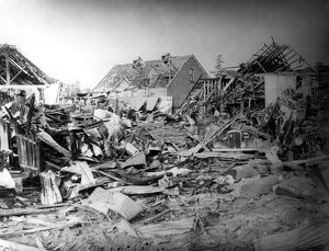 Home front 1940. The destruction caused by a German air raid