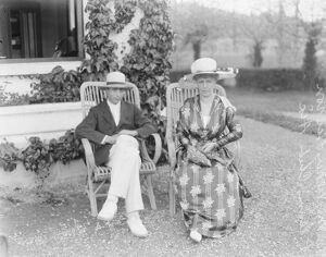 Hon Mrs Vickers and her son at Six Le Bain 1922