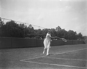 Hurlingham Lawn Tennis Tournament An action shot of Mrs Baddeley in the ladies handicap