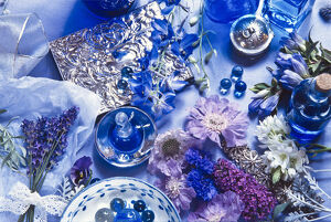 The idea of blue fragrance - flowers, fabric, scent, glass, credit: Marie-Louise