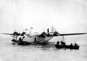 The Imperial Airways flying boat ' Caledonia ' on the water at Shannon