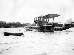 Imperial Airways flying boat Swanage moored at Southampton ready for her flight to