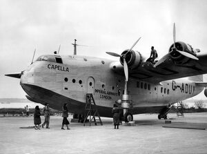Imperial Airways latest Empire flying boat Capella being prepared at Southampton