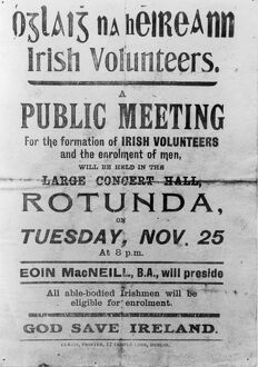 Irish rebel poster appealing for the enrolment of volunteers at a meeting presided