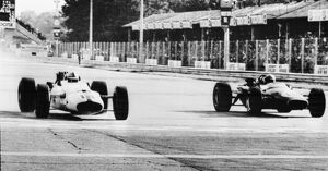 John Surtees beating Jack Brabham by a car length in the Italian Grand Prix at Monza