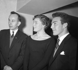 John Surtees, Mary Bignal, and Jimmy Greaves at Variety Club Lunch 1960