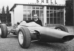 John Surtees pictured here with the new Ferrari Formula One racing car. April 7th