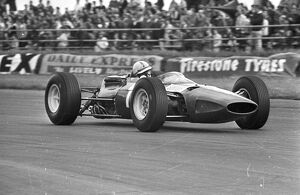 John Surtees racing at Silverstone and finishing third in 10 July 1965
