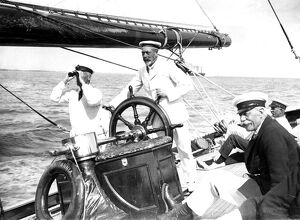 King George V as captain of his yacht Britannia which he frequently sailed at Cowes