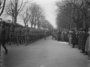 The King and Queen of Afghanistan at Hendon. Inspecting the troops. 17 March 1928 King