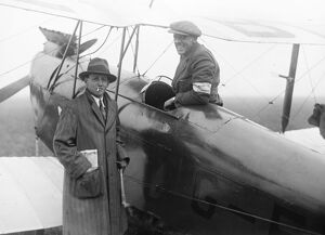 The Kings Cup Air Race. Captain F G M Sparks ( seated ) and Captain H S Broad ( with