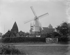 Well known landmark restored. The rebuilding of the smock windmill in the grounds