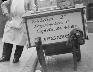 L Papa and Sons ice cream vendor in Gravesend , Kent . 1939
