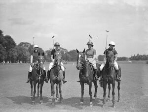 Ladies Inter Club Polo at Ranelagh - Rugby team, left to right Hon Mrs Edward Greenall