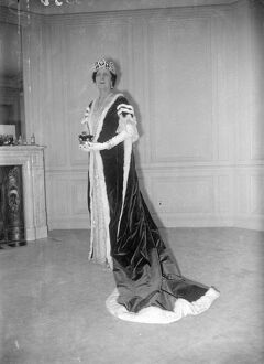 Lady Decies in her Coronation Robe. Lady Decies, wife of Lord Decies, coach Roy