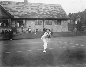Lawn tennis tournament at Magdalen Park. P Wheatley in play in the Gents Singles