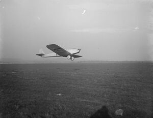 Light aeroplane trials at Lympne A Bristol Brownie monoplane during the High Speed
