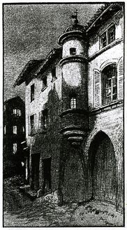 Lithograph depicting a house in Saint Remy wrongly believed to have been the birth-place