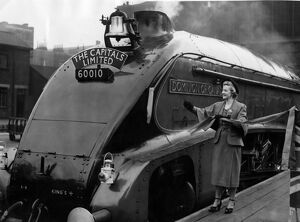London to Edinburgh non stop Express train. Anne Crawford cuts the tape