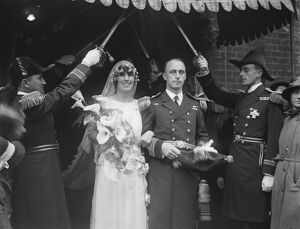 Lord Louis Mountbatten attends London naval wedding. The marriage of Commander
