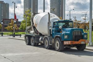 Mack 8 wheeler cement mixer truck, parked up very close to the CN tower (out of shot)