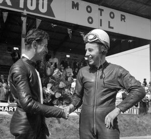 Mettet, Belgium : Britain ' s famous John Surtees ( right ), who with his M V Augusta