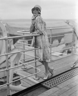 Mexican film star in England. Signora Dolores de Rio on the boat at Plymouth. 24