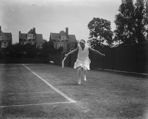 Middlesex championships at Chiswick Park. Miss Joan Fry in play. 26 May 1927