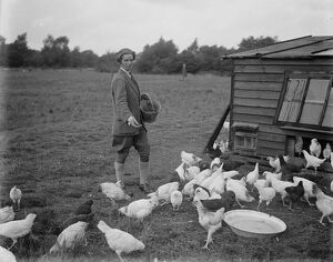 Miss Foster winner of Kings prize at Bisley at home of her chicken farm. 21 July 1930