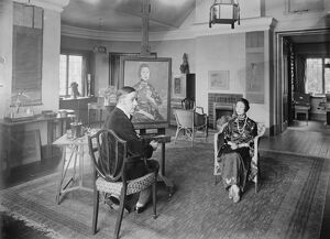 MME Wellington Koo sitting for her portrait to Mr Edmund Dulac at his studio, 117