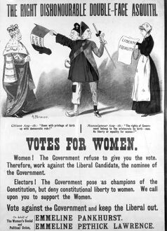 A Suffragette poster designed to discredit Asquith