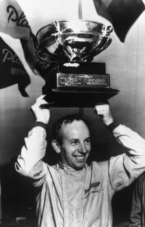 Mont-Tremblant Quebec John Surtees celebrates winning the Player's Quebec Sports