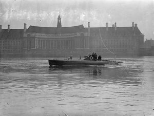 Motor torpedo boat built for foreign government undergoes tests on Thames