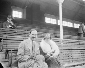 Mr P G H Fender, the Surrey captain, and Miss Ruth Clapham photographed at the Oval