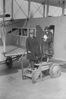 Mr Robert Courrneidge and his wife before leaving Croydon aerodrome on a flight to