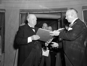 Mr Winston Churchill seen receiving the Freedom of Eastbourne, Sussex from Councillor