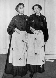 Mrs Emmeline Pankhurst and Miss Christabel Pankhurst in their prison clothes