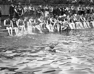 Mrs Hilda Willing, channel swimmer, at Tonbridge open - air swimming pool. 23